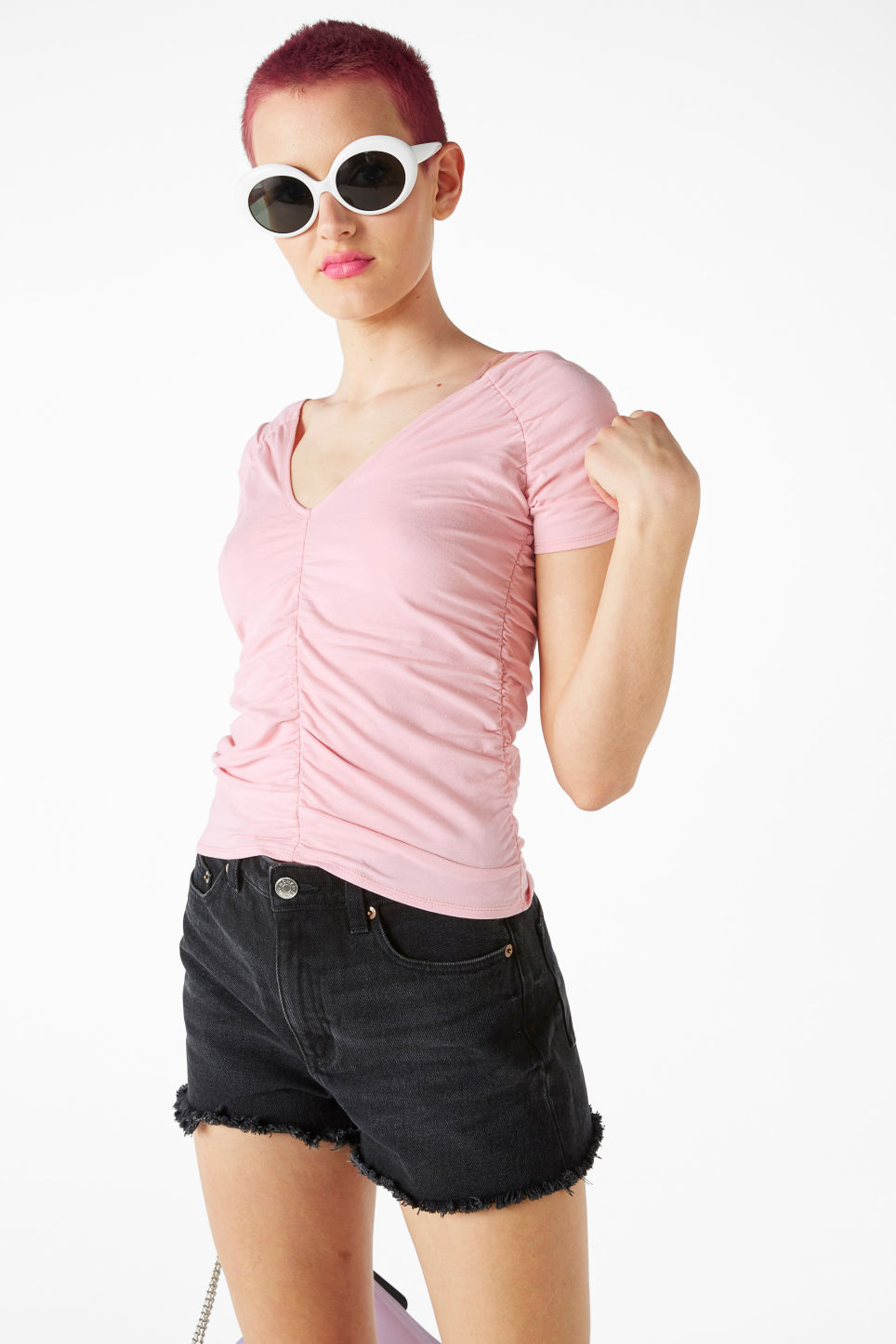 Model front image of Monki ruched top in pink