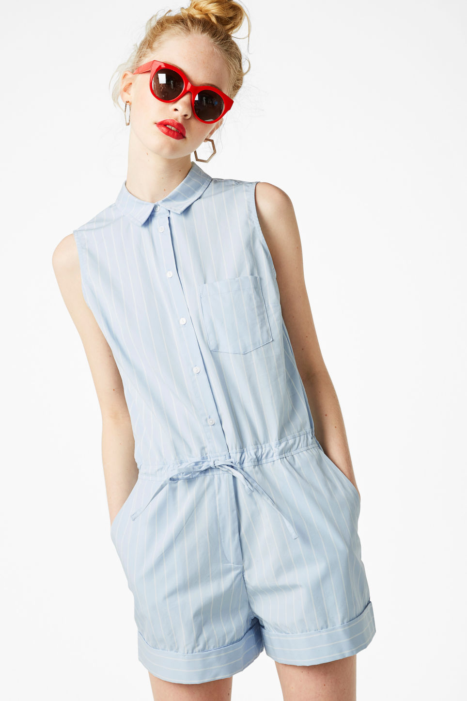 Model front image of Monki sleeveless playsuit in blue