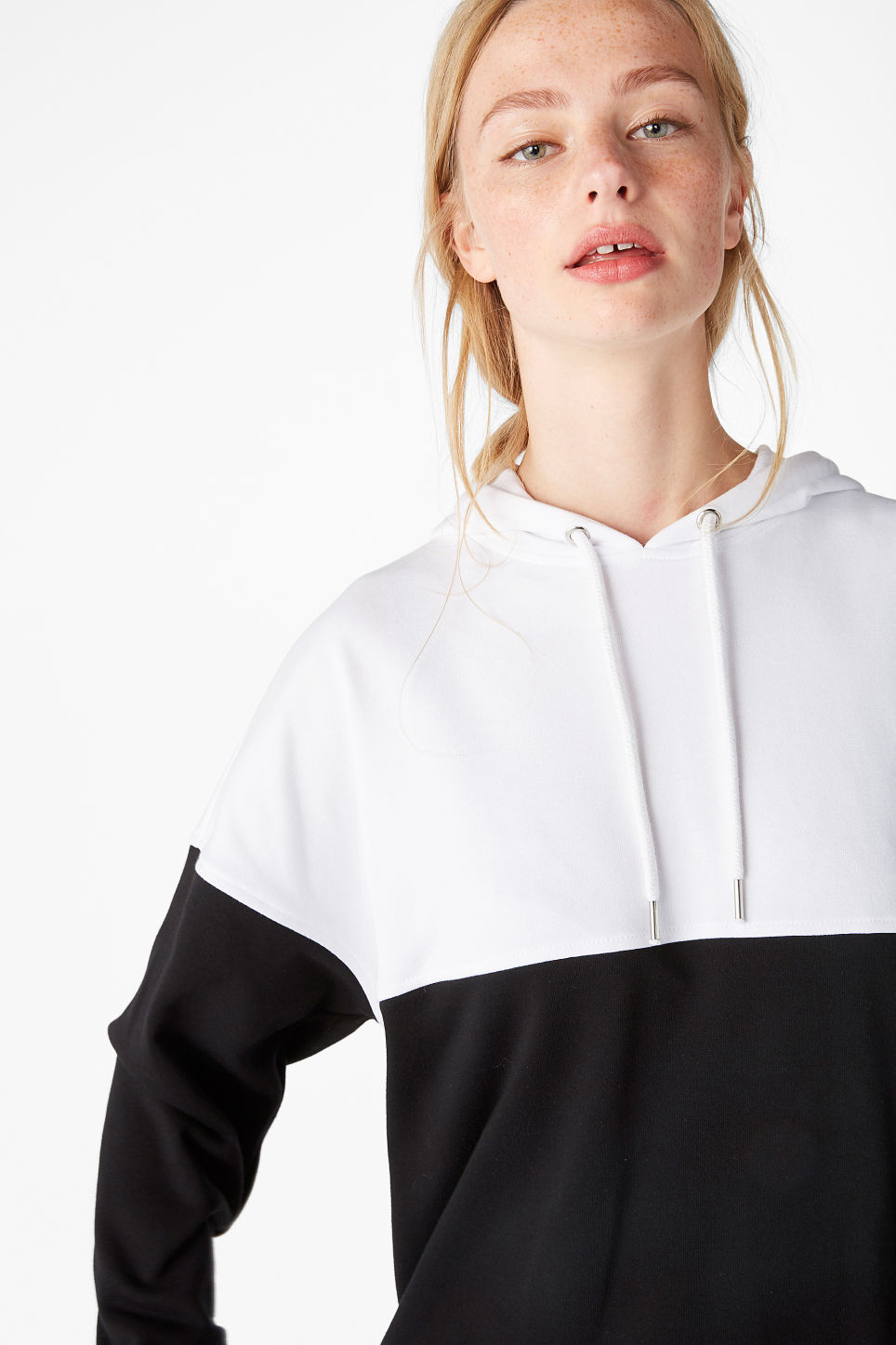 Model front image of Monki colour block hoodie in black