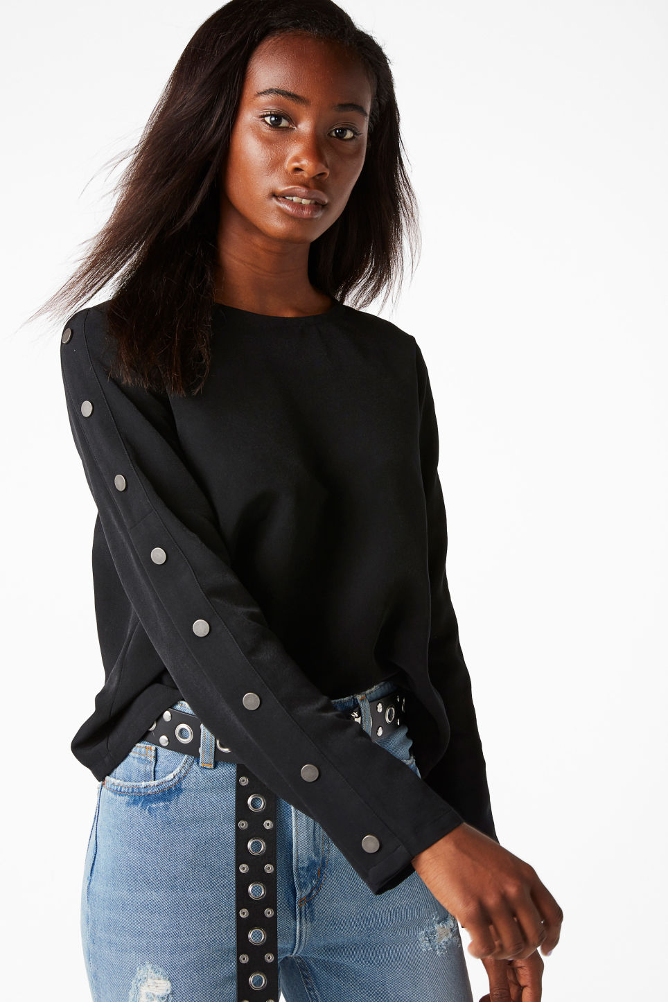 Model front image of Monki long sleeved top with stud detail in black