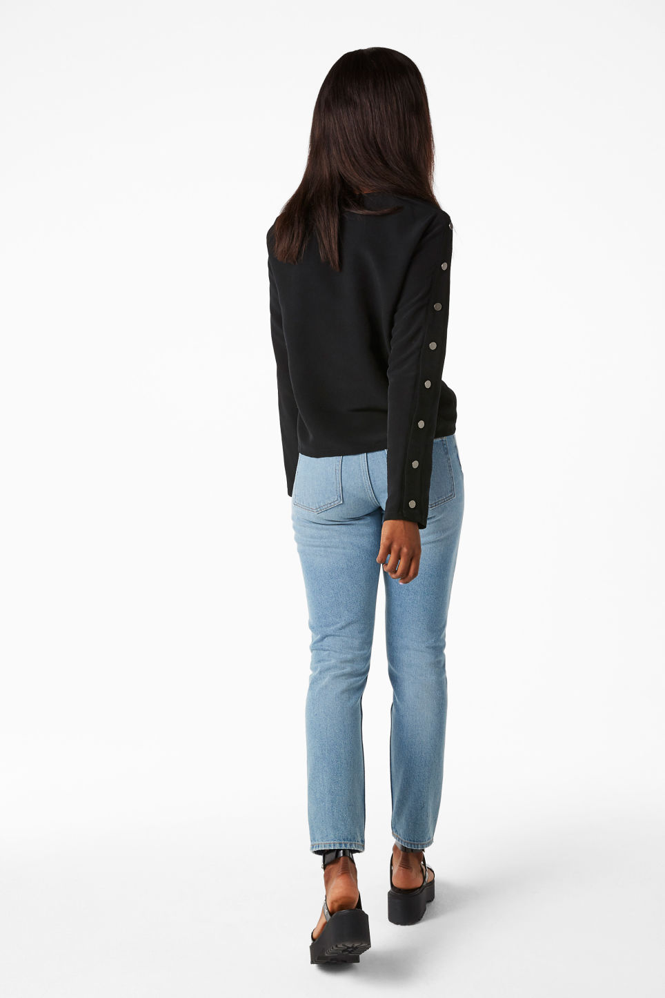 Model back image of Monki long sleeved top with stud detail in black
