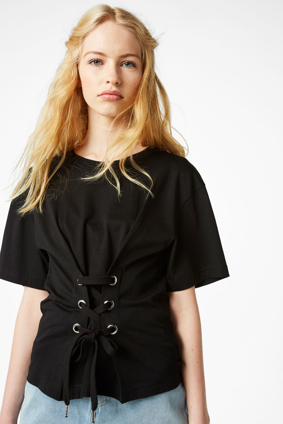 Model front image of Monki corset detail tee in black