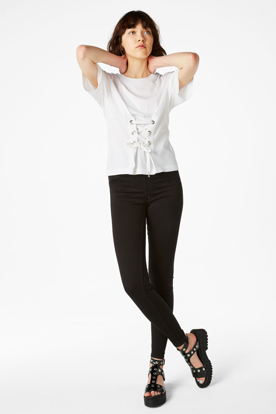 Model front image of Monki corset detail tee in white