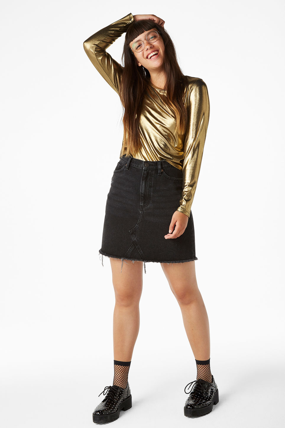 Model front image of Monki mesh cropped top in yellow