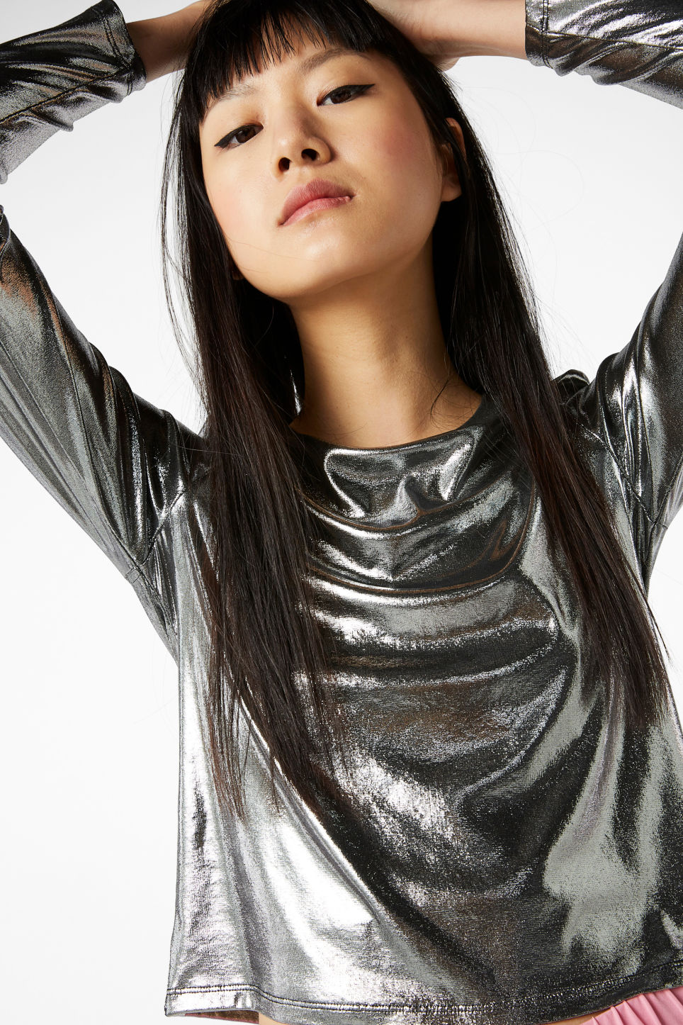 Model front image of Monki mesh cropped top in grey