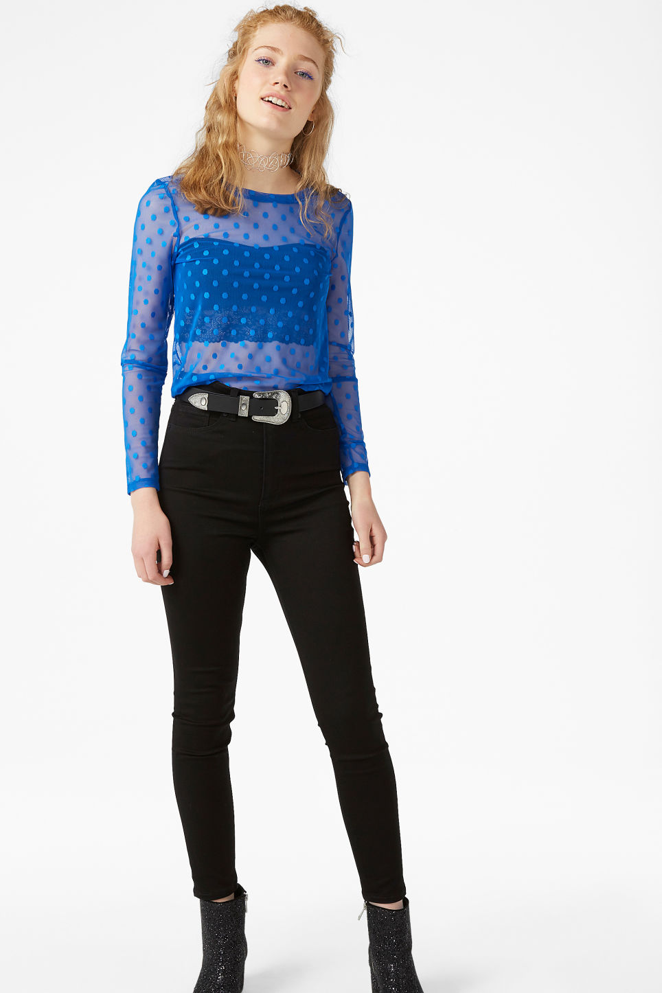 Model front image of Monki mesh cropped top in blue