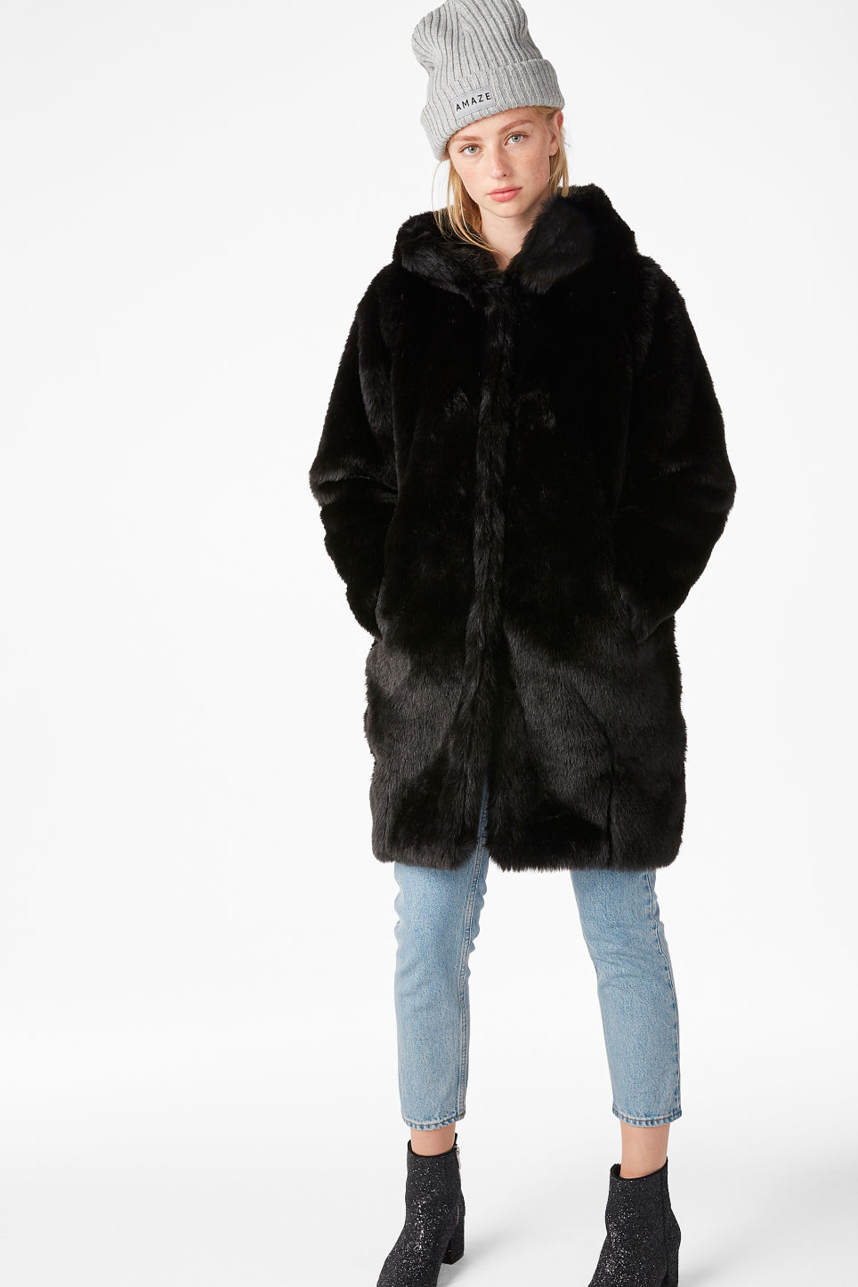 Model front image of Monki hooded faux fur coat in black