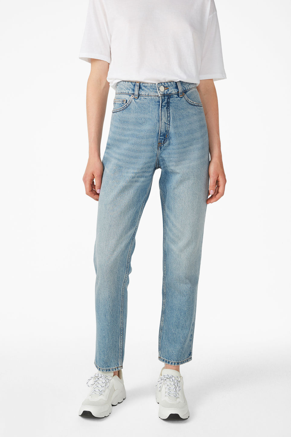 Model side image of Monki taiki blue x-long jeans in blue