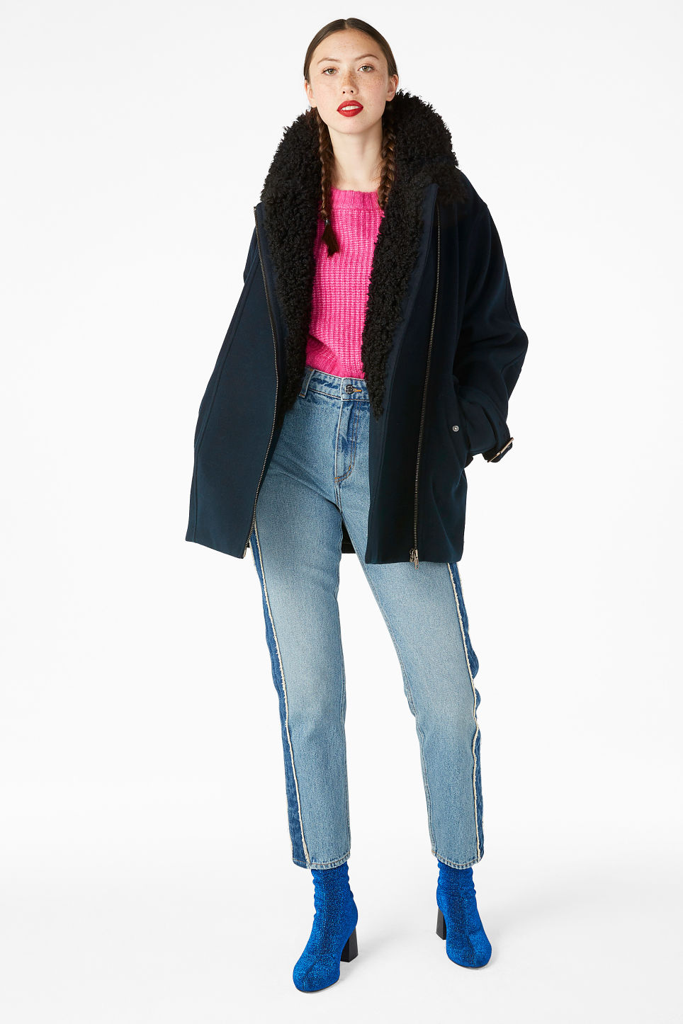 Model front image of Monki coat with faux shearling collar in black