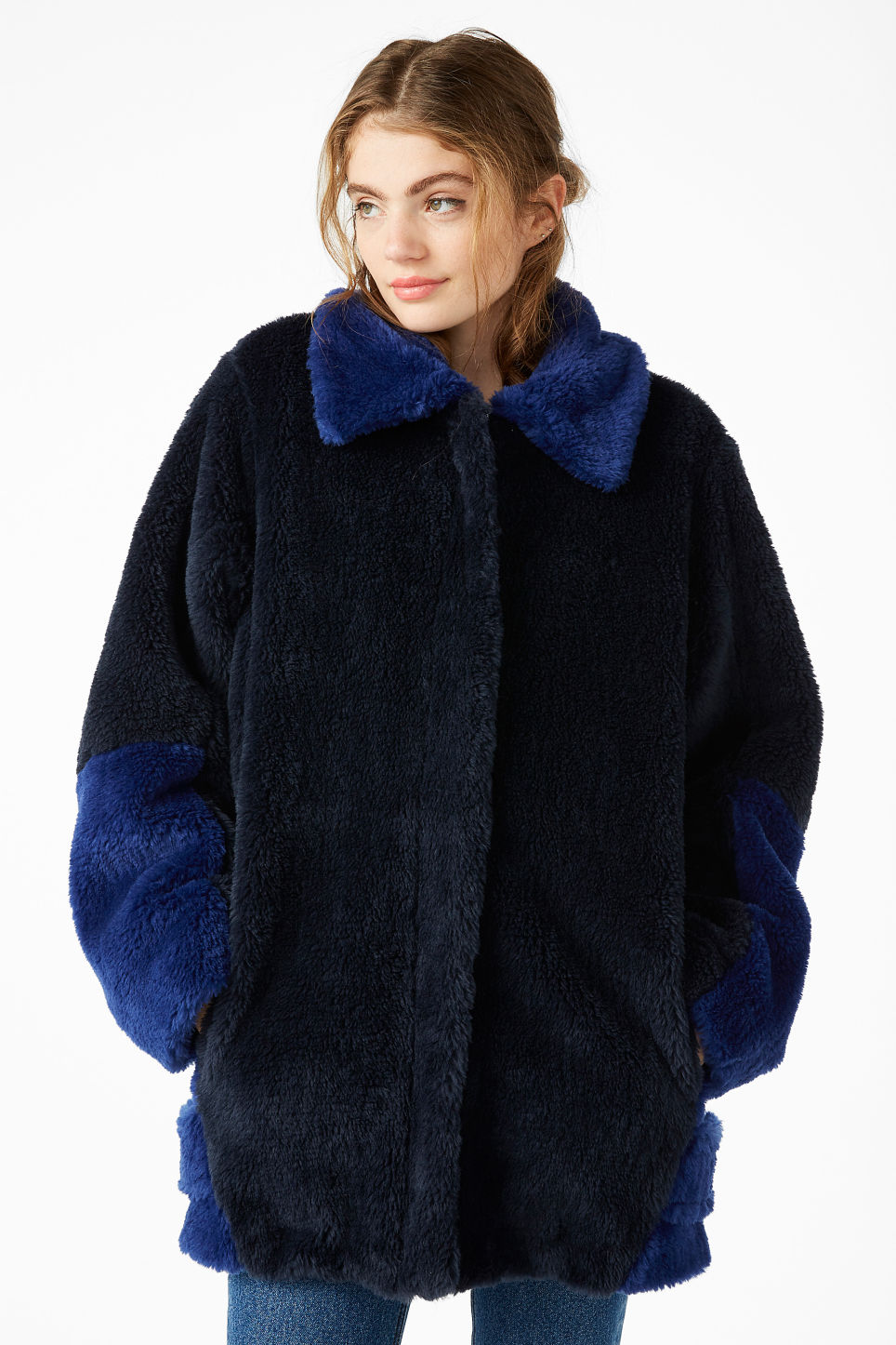 Model front image of Monki faux fur jacket in blue