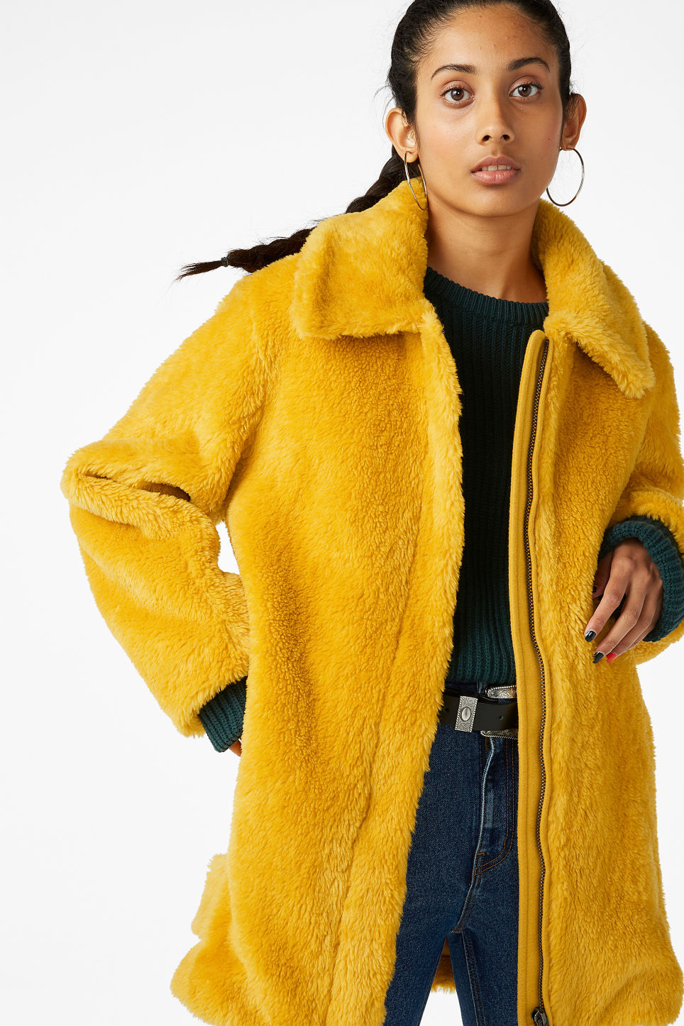 Model front image of Monki faux fur jacket in yellow