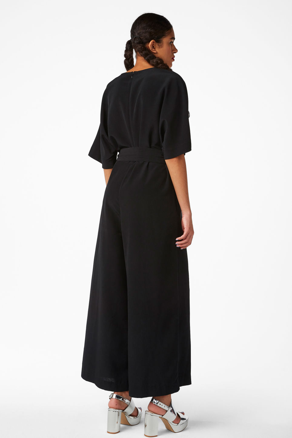 Model side image of Monki belted jumpsuit in black