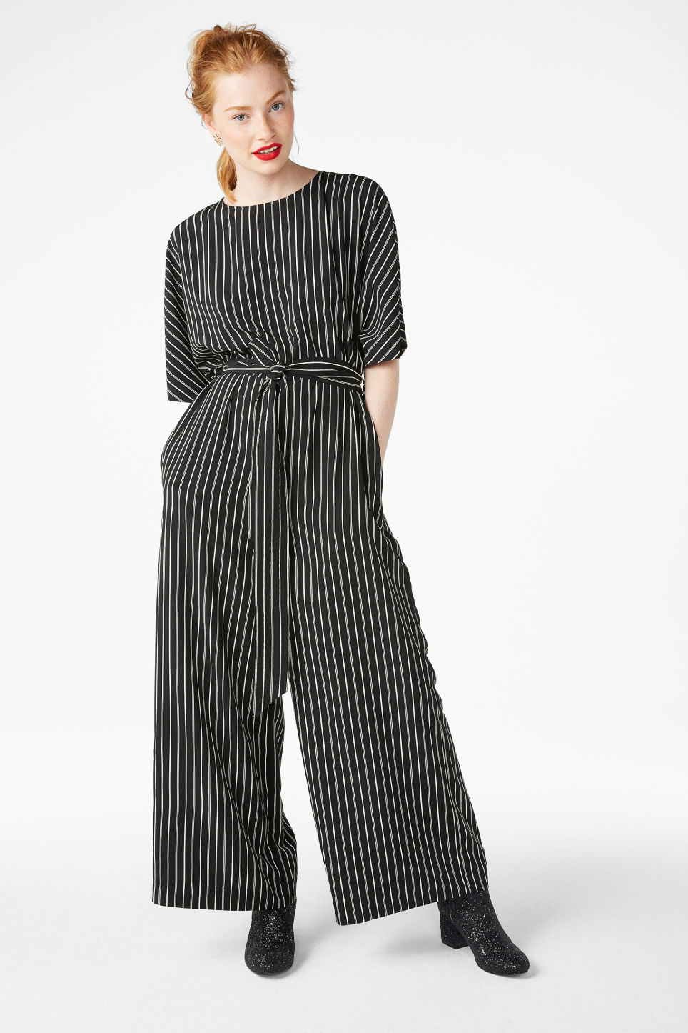 6add484159d5 Belted jumpsuit - Sleek stripes - Jumpsuits - Monki