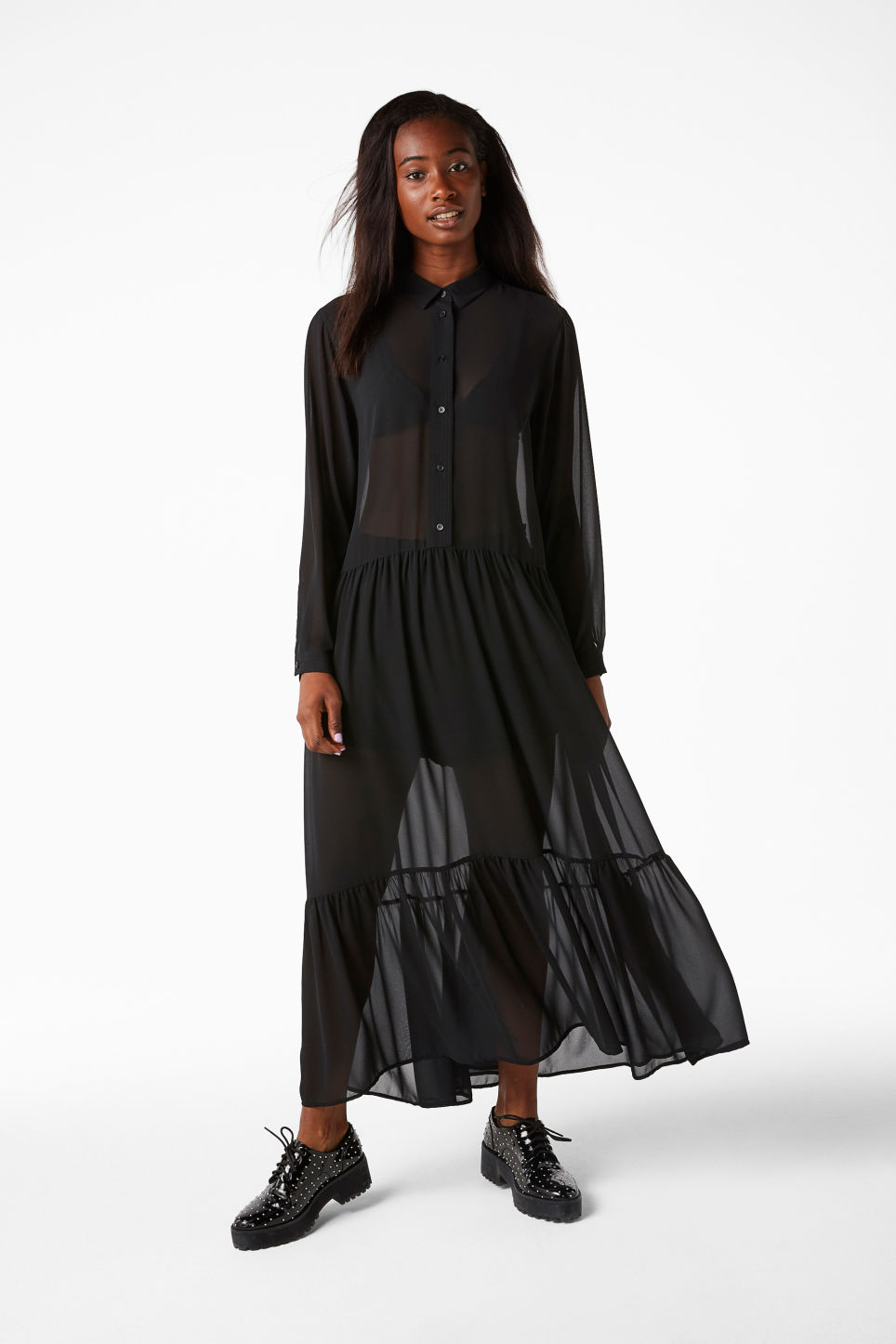 Model front image of Monki long dress with ruffle hem in black