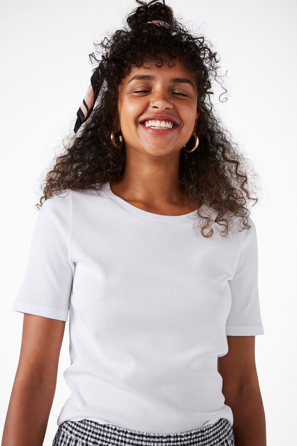Model front image of Monki ribbed cotton tee in white