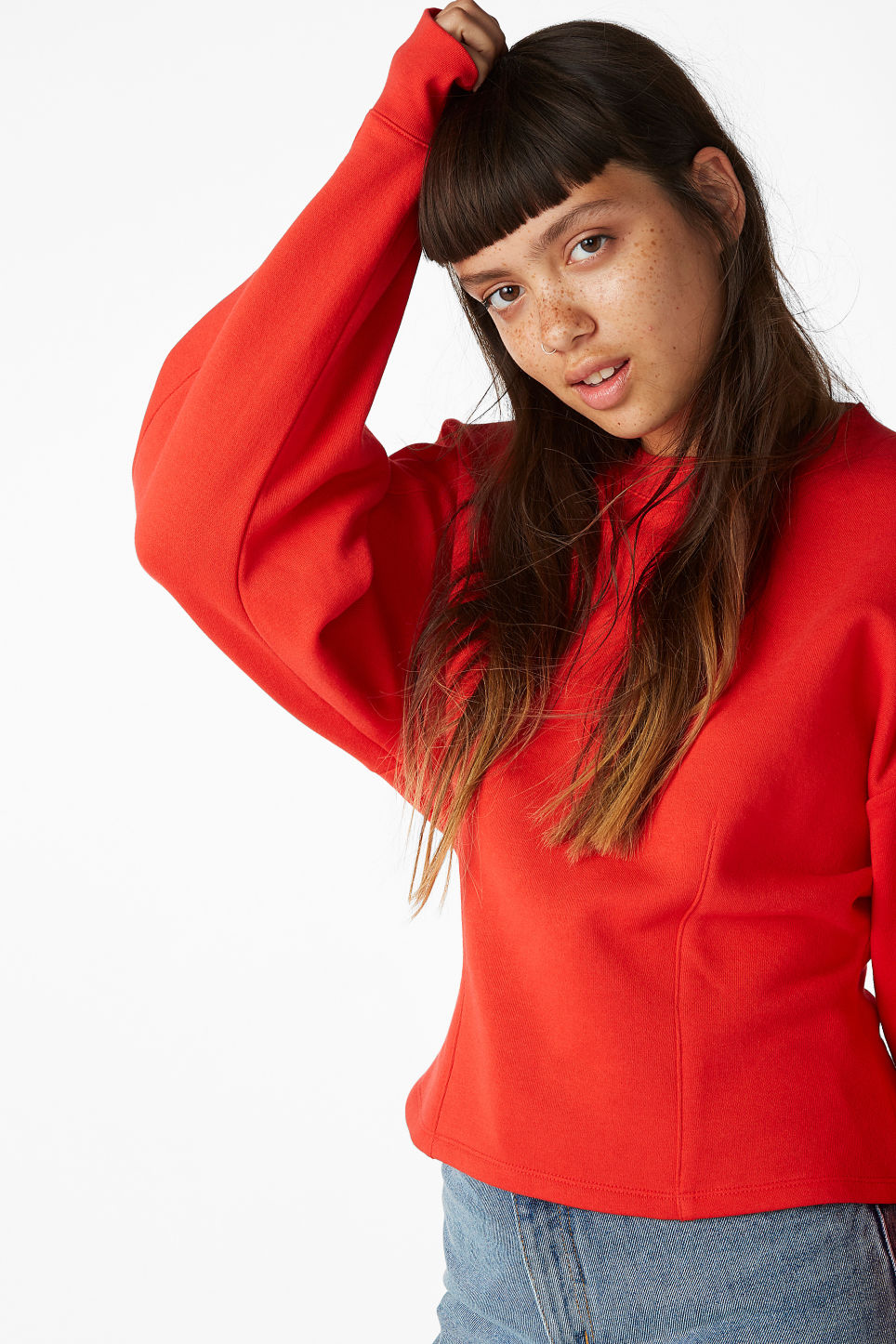 Model front image of Monki puffed sleeve sweatshirt in red