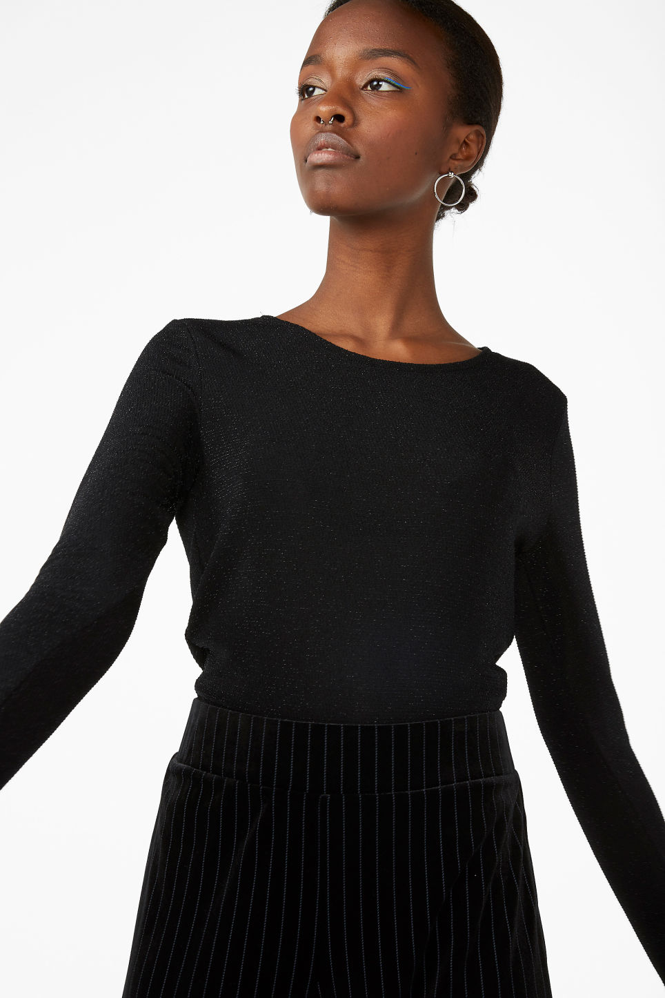 Model front image of Monki long-sleeved glitter top in black