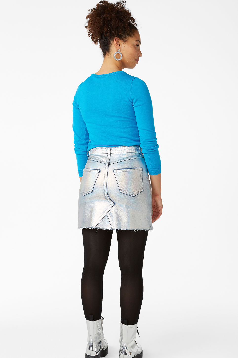 Model back image of Monki metallic denim skirt in silver