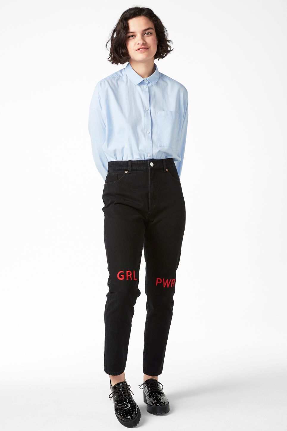 Model front image of Monki kimomo statement jeans in black