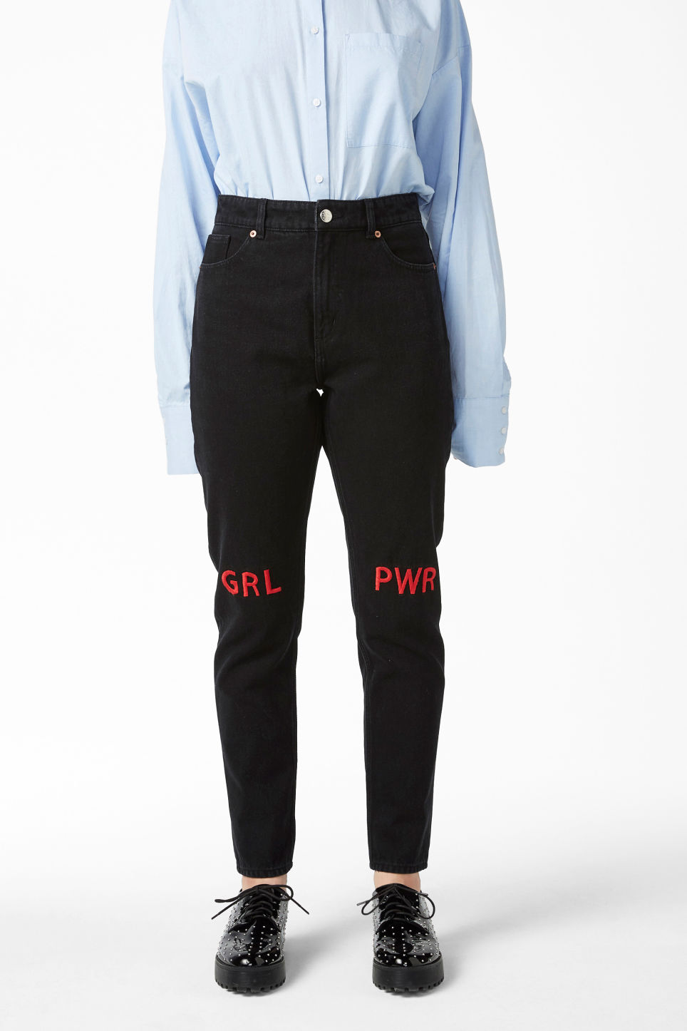 Model side image of Monki kimomo statement jeans in black