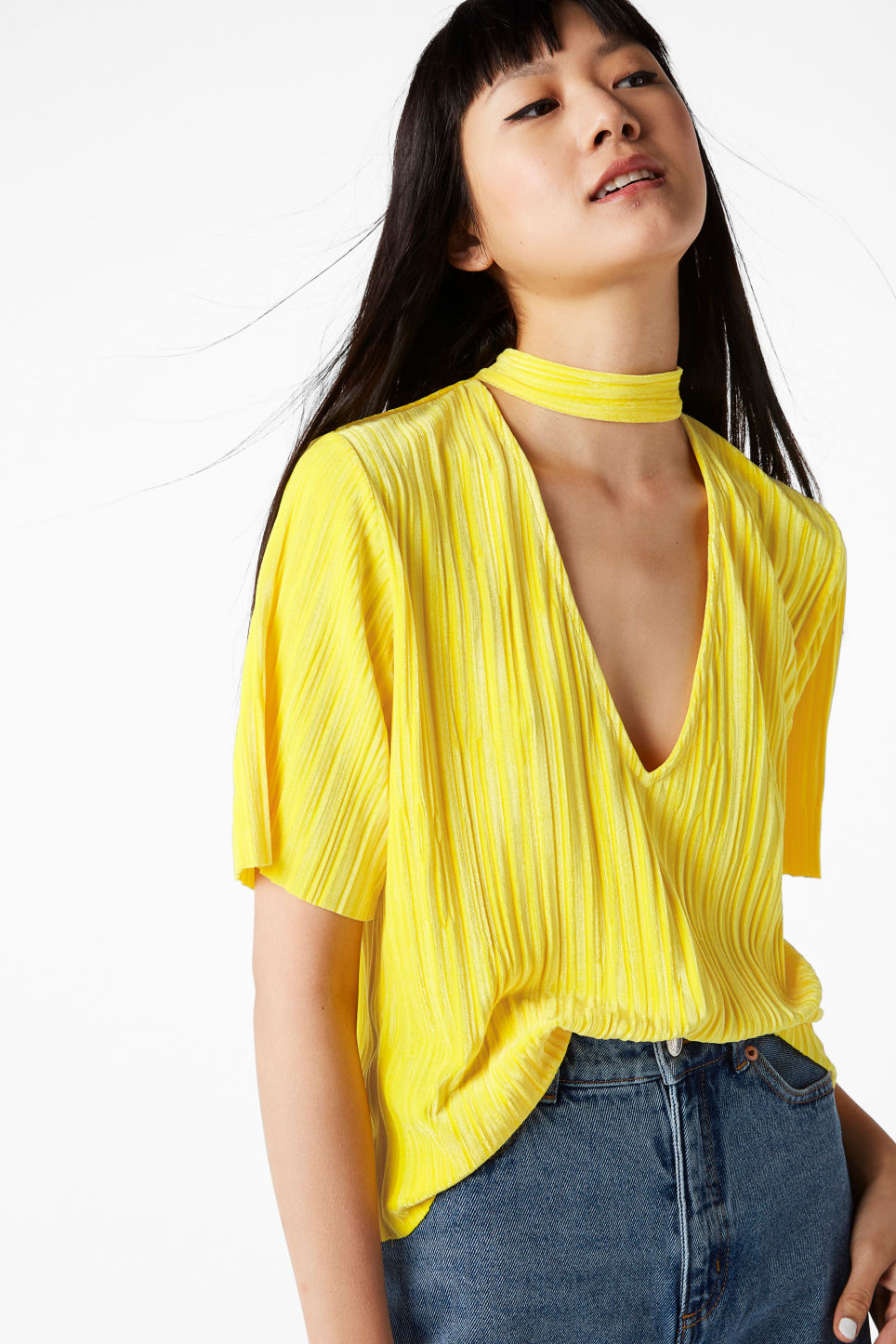 Model front image of Monki v-neck blouse with neck band in yellow
