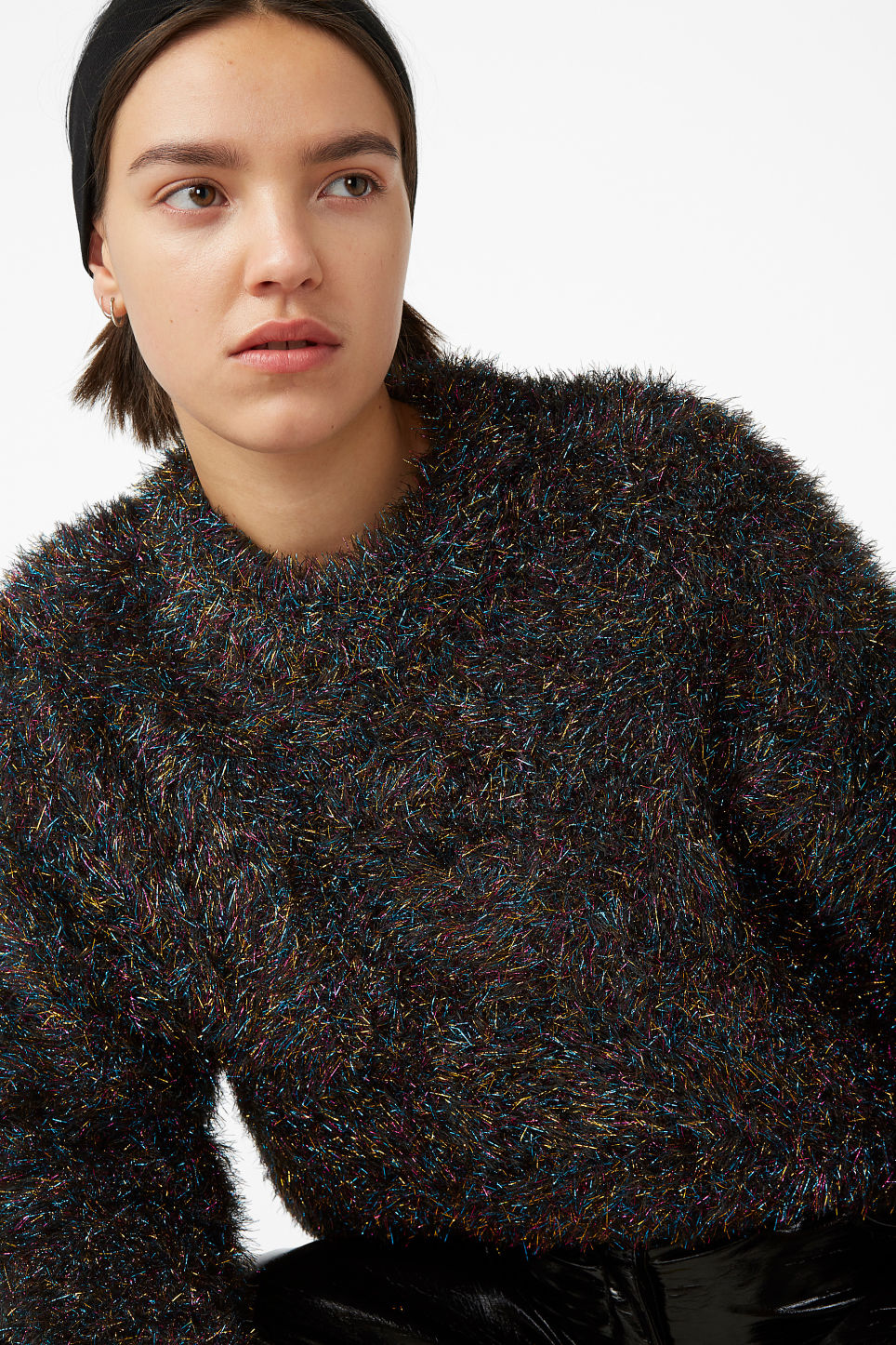 Model front image of Monki fluffy sweater in black