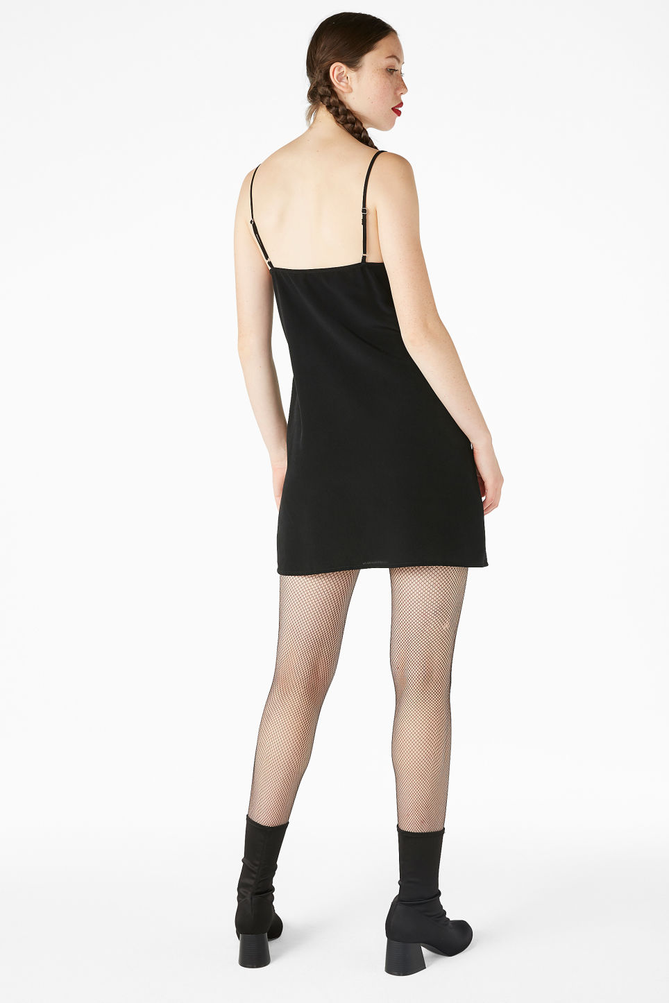 Model back image of Monki ruffled halter slip dress in black