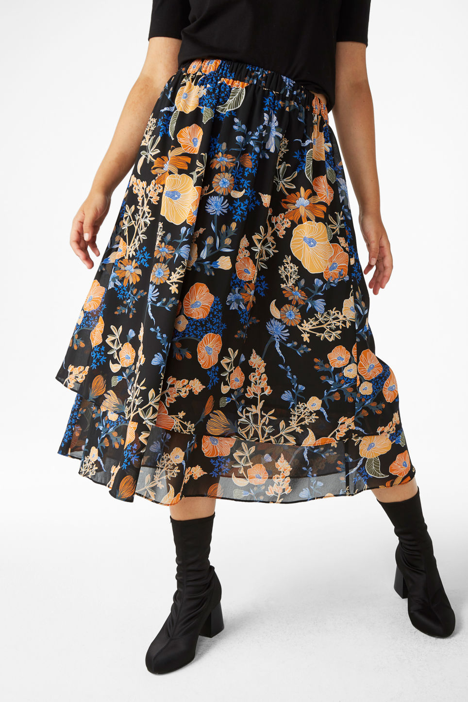 Model front image of Monki ruffle layered skirt in black