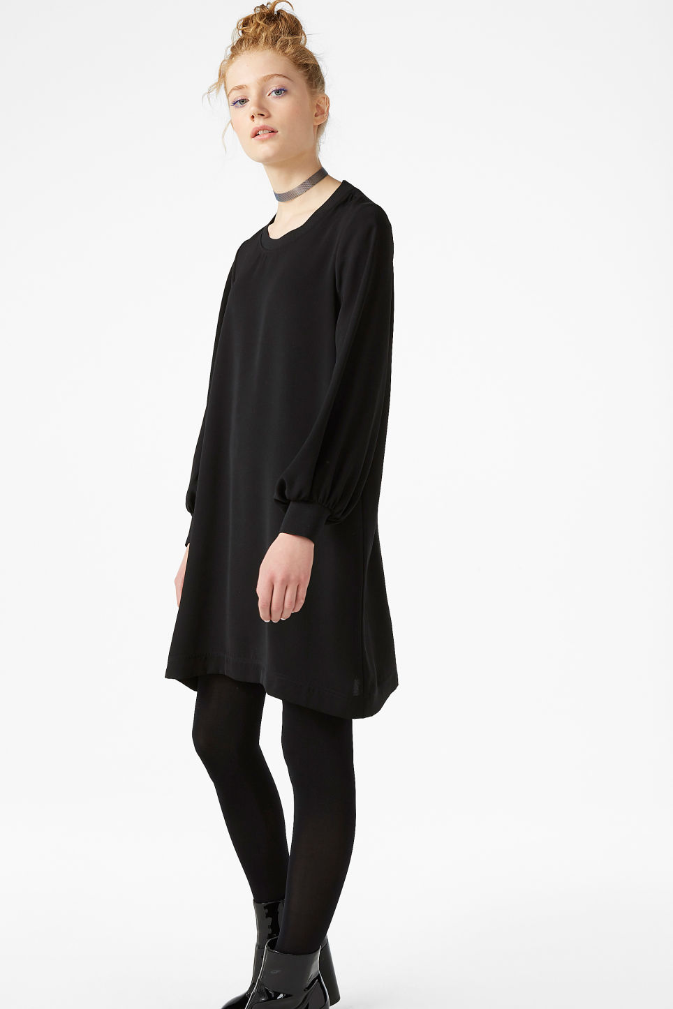 Model front image of Monki puff-sleeved dress in black
