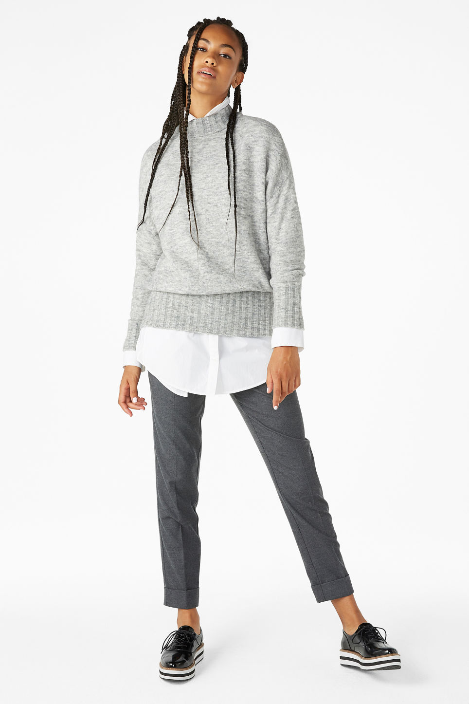 Model front image of Monki cosy knitted sweater in grey