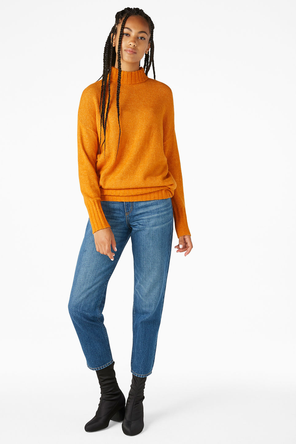 Model front image of Monki cosy knitted sweater in yellow