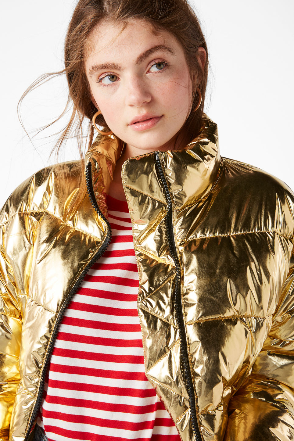 Model front image of Monki gold puffer jacket in yellow