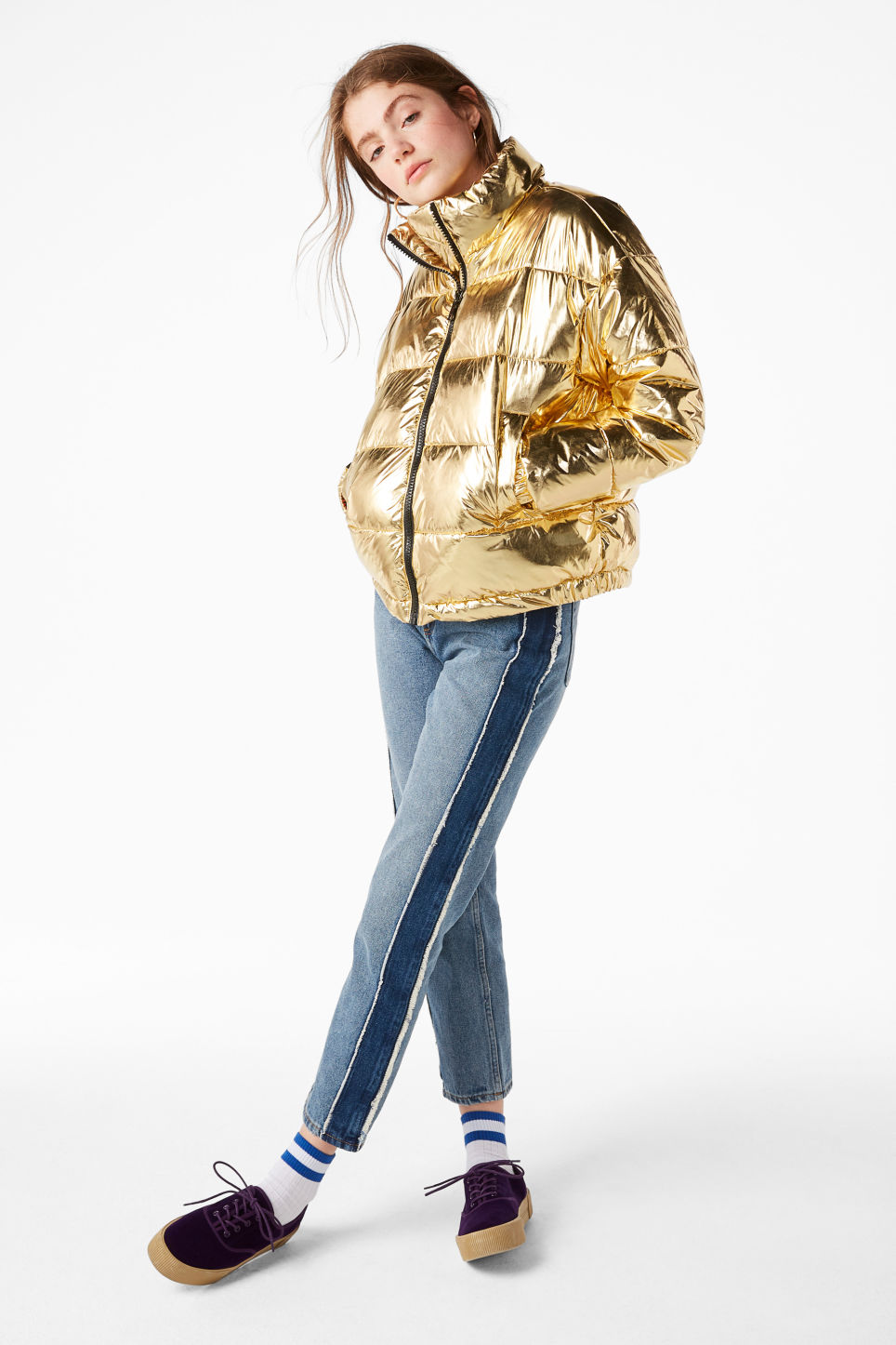 Model side image of Monki gold puffer jacket in yellow