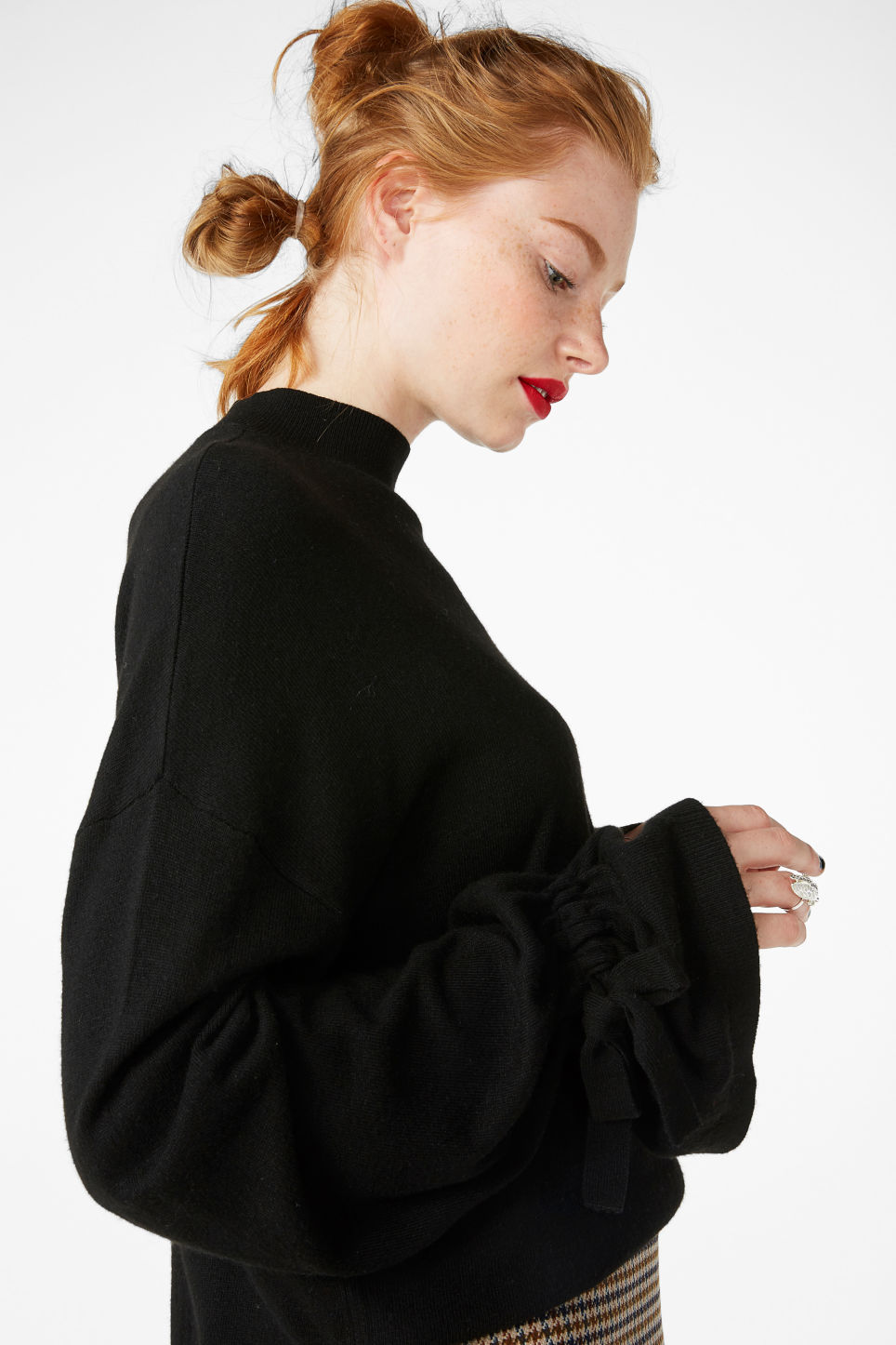 Model front image of Monki sweater with ruffled wrists in black
