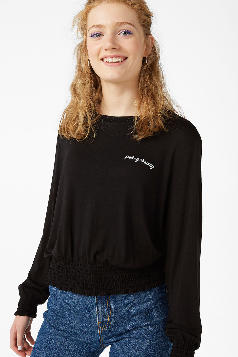 Model front image of Monki gathered hem top in black