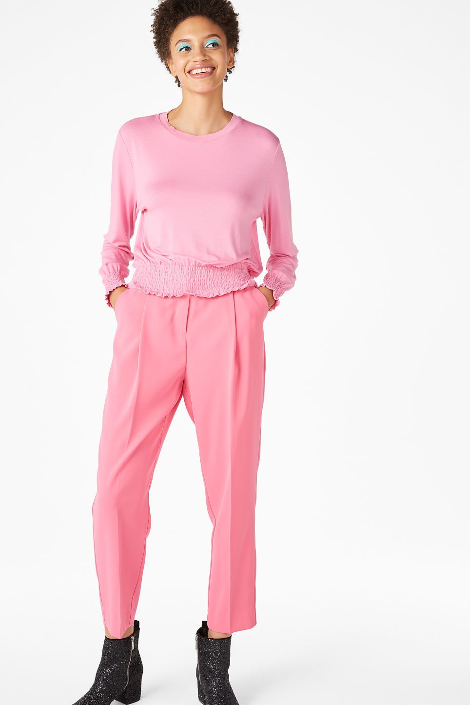 Model front image of Monki gathered hem top in pink