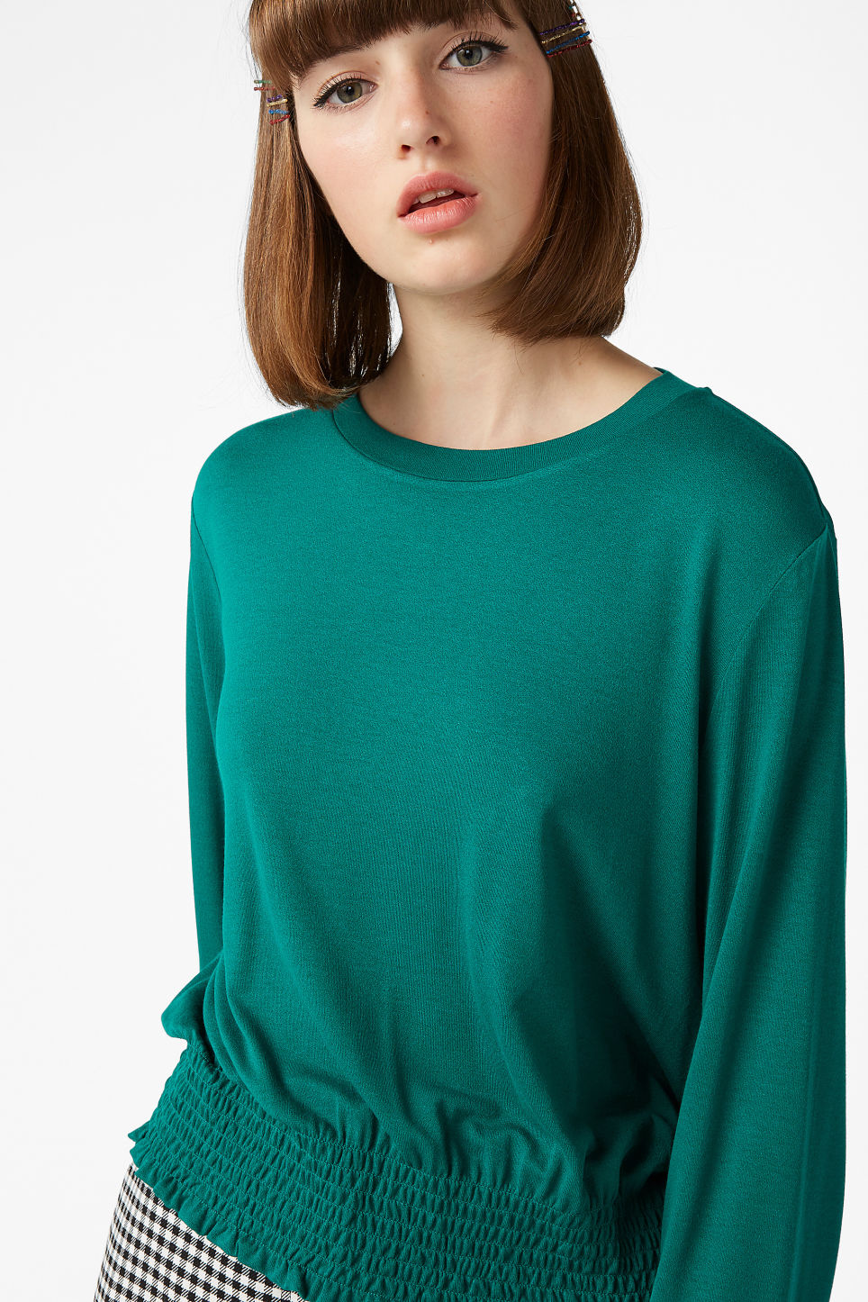 Model front image of Monki gathered hem top in turquoise