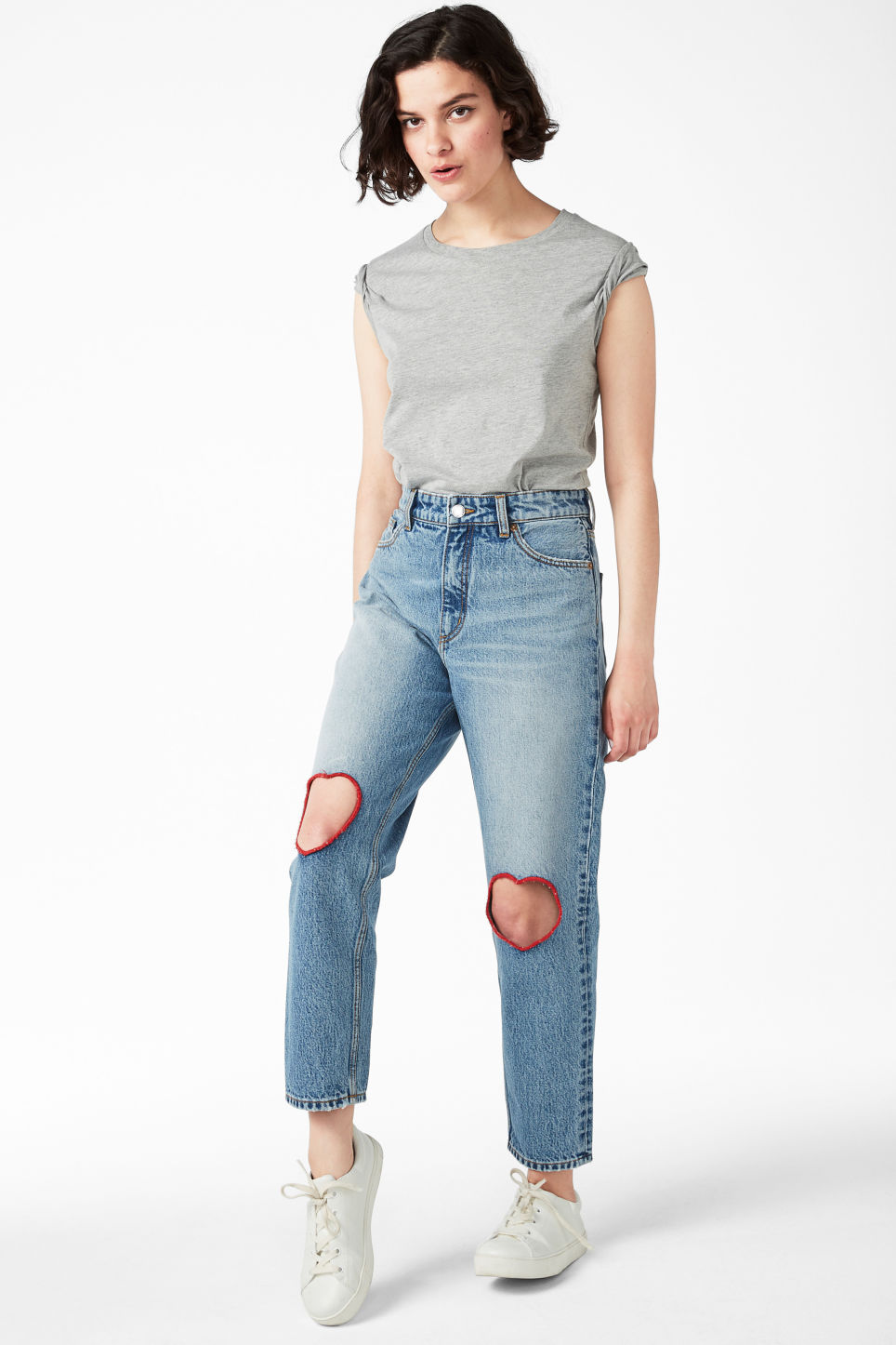 Model front image of Monki taiki cut out hearts in blue