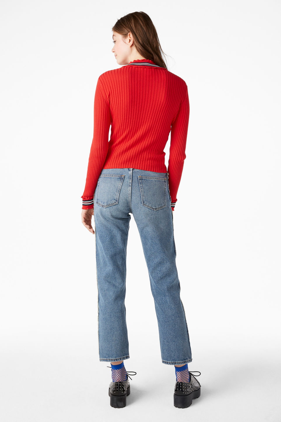 Model back image of Monki ribbed zip neck sweater in red