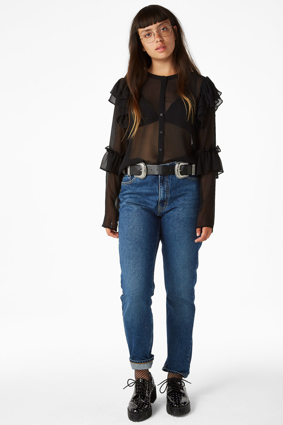 Model front image of Monki triple ruffled sleeve blouse in black