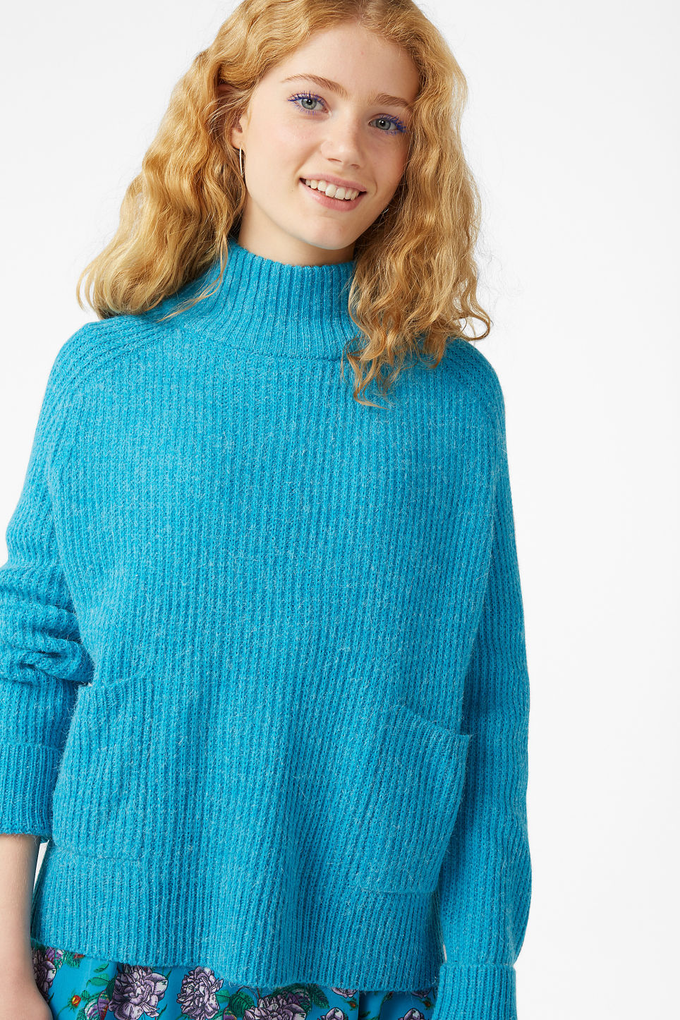 Model front image of Monki knit sweater in turquoise
