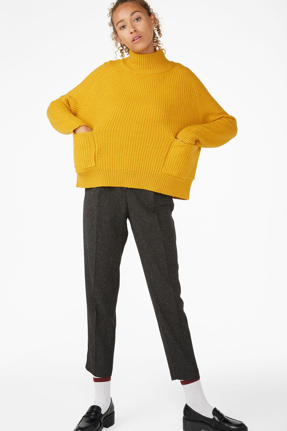 Model front image of Monki knit sweater in yellow