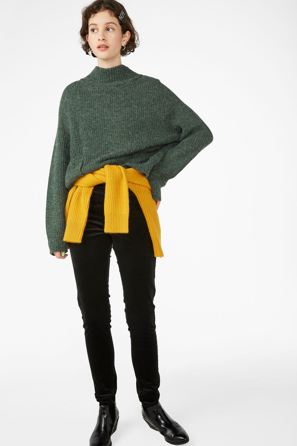 Model front image of Monki polo neck knit in green