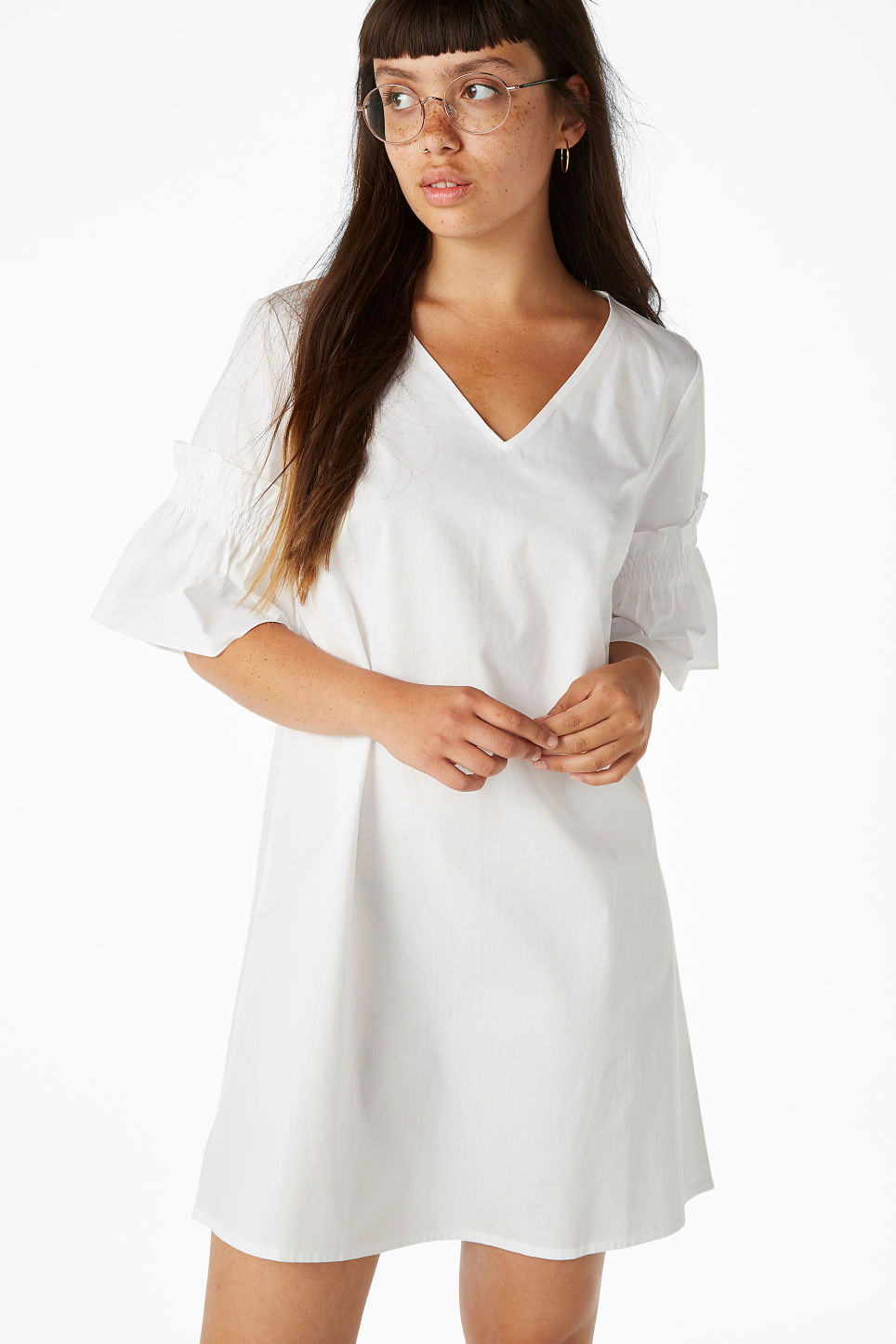Model front image of Monki ruffled sleeve dress in white