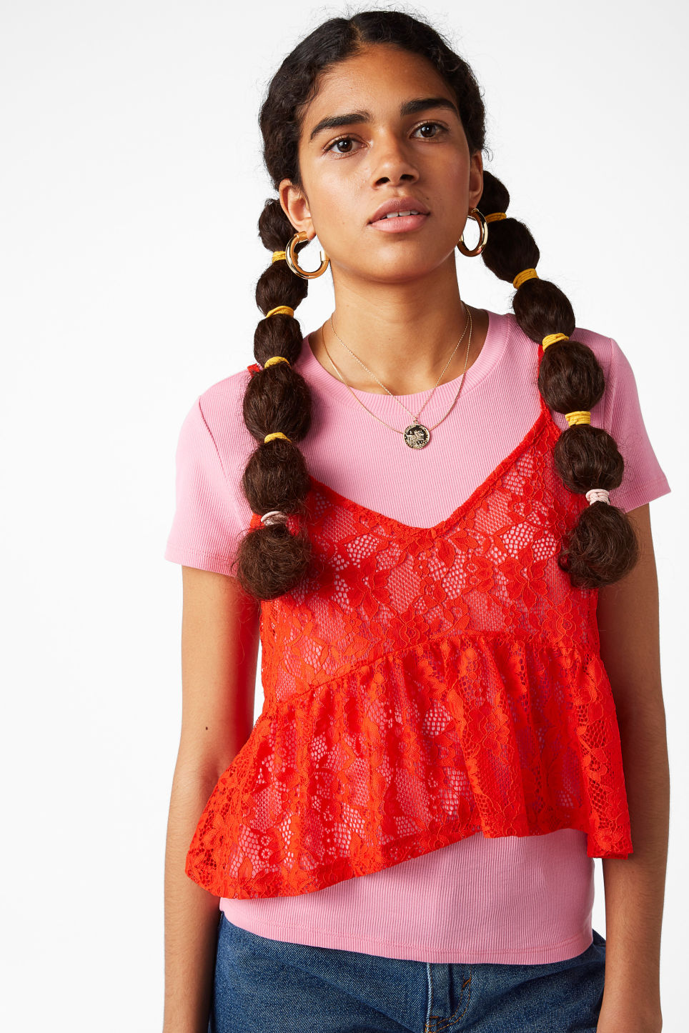 Model front image of Monki cropped ruffle singlet in orange
