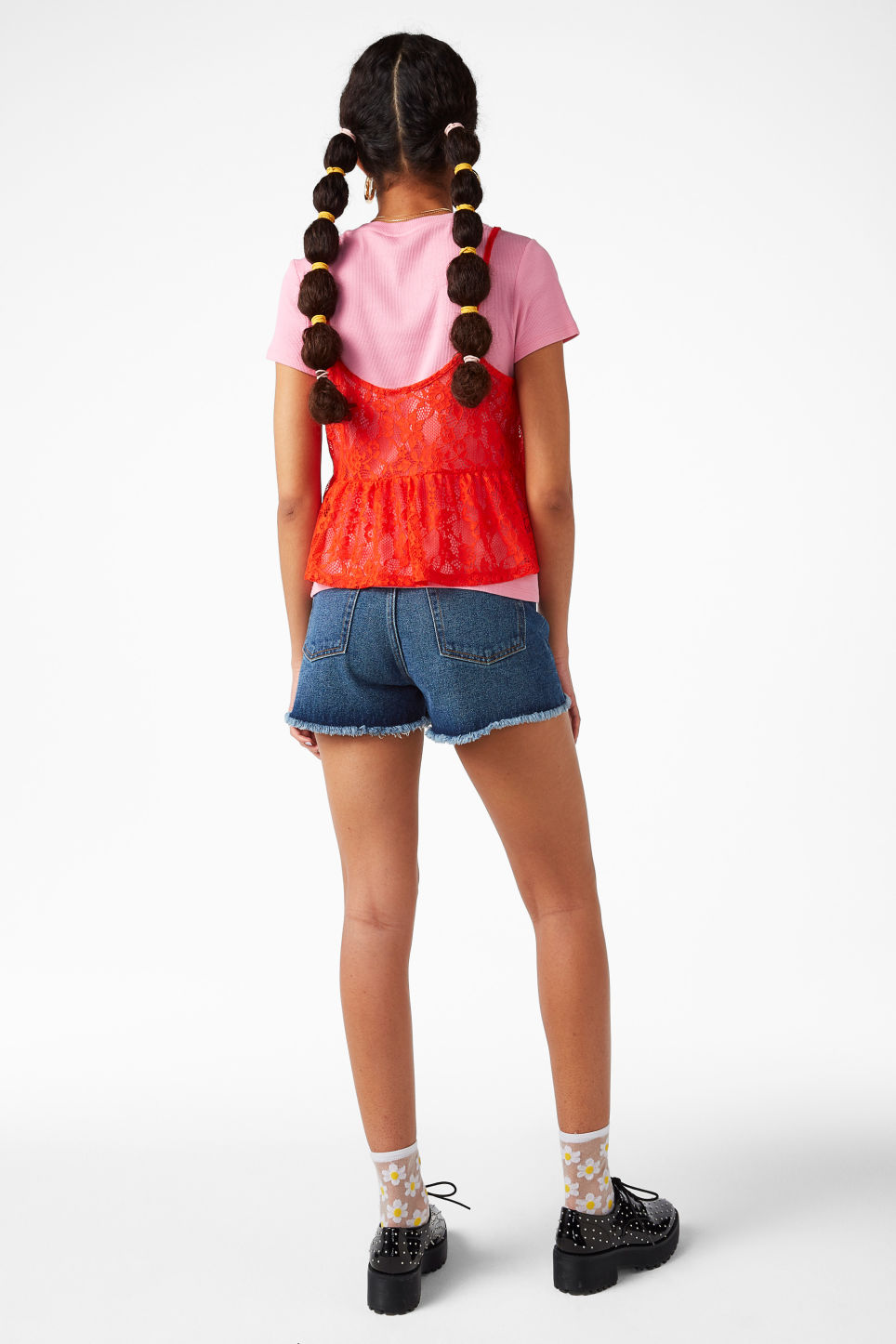 Model back image of Monki cropped ruffle singlet in orange