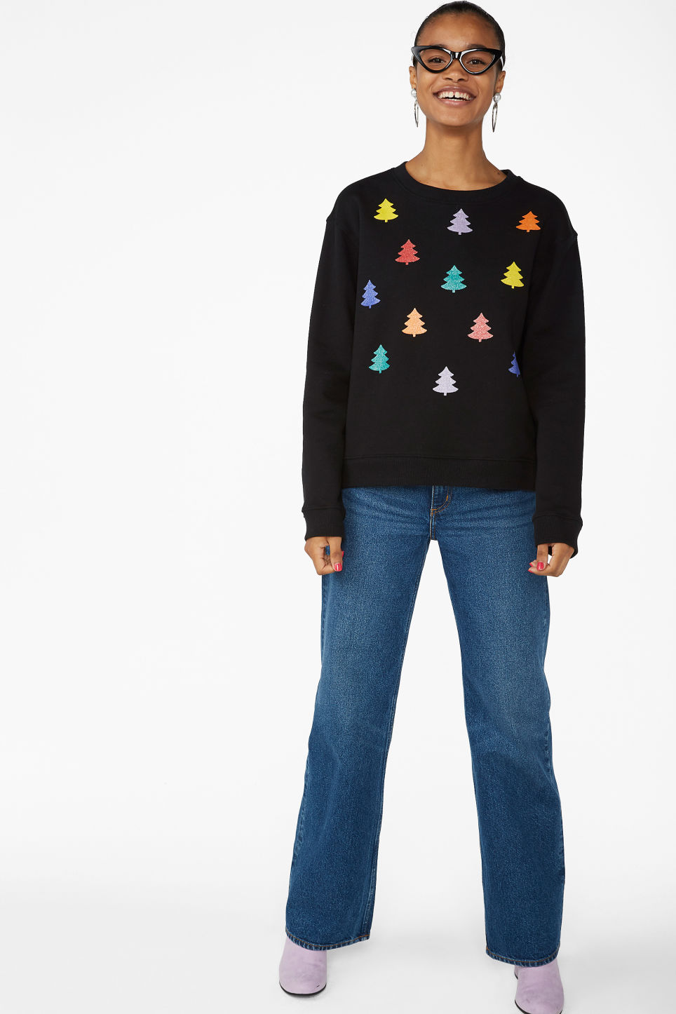 Model side image of Monki soft sweat  in black