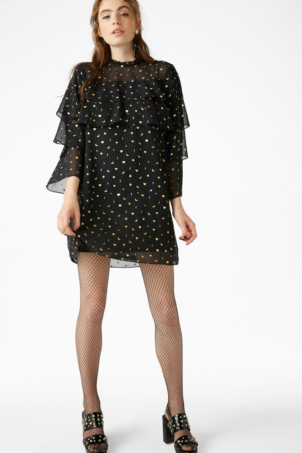 Model front image of Monki ruffled trumpet sleeved dress in black