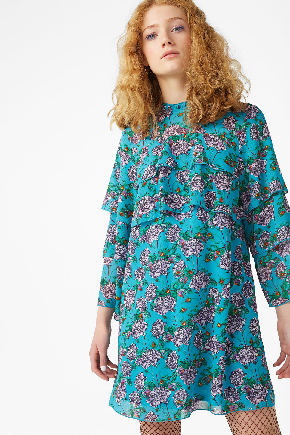 Model front image of Monki ruffled trumpet sleeved dress in turquoise