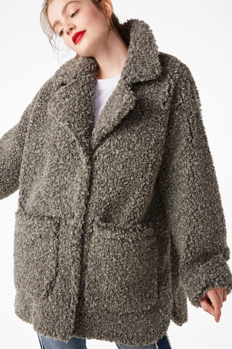 Model front image of Monki faux shearling coat in grey